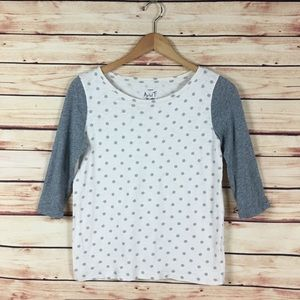 J Crew Polka Dot Artist T Shirt 3/4 Sleeves XS